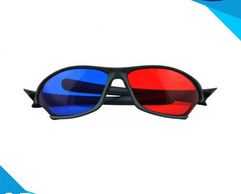 plastic red and blue 3d glasses