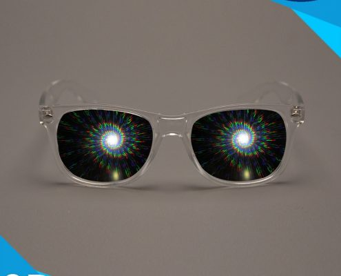 sprial diffraction glasses transparent