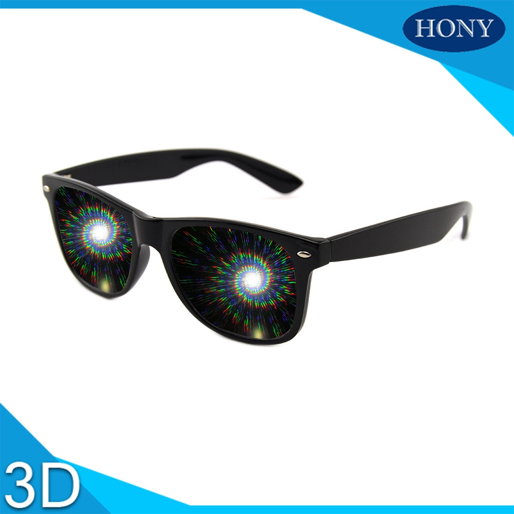 spiral diffraction glasses black